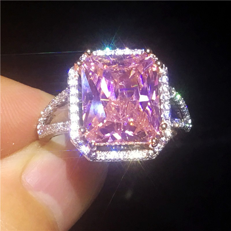 SVC-JEWELS 14k Black Gold Over 925 Sterling Silver Pink Sapphire Cluster Engagement Wedding Band Ring Mens