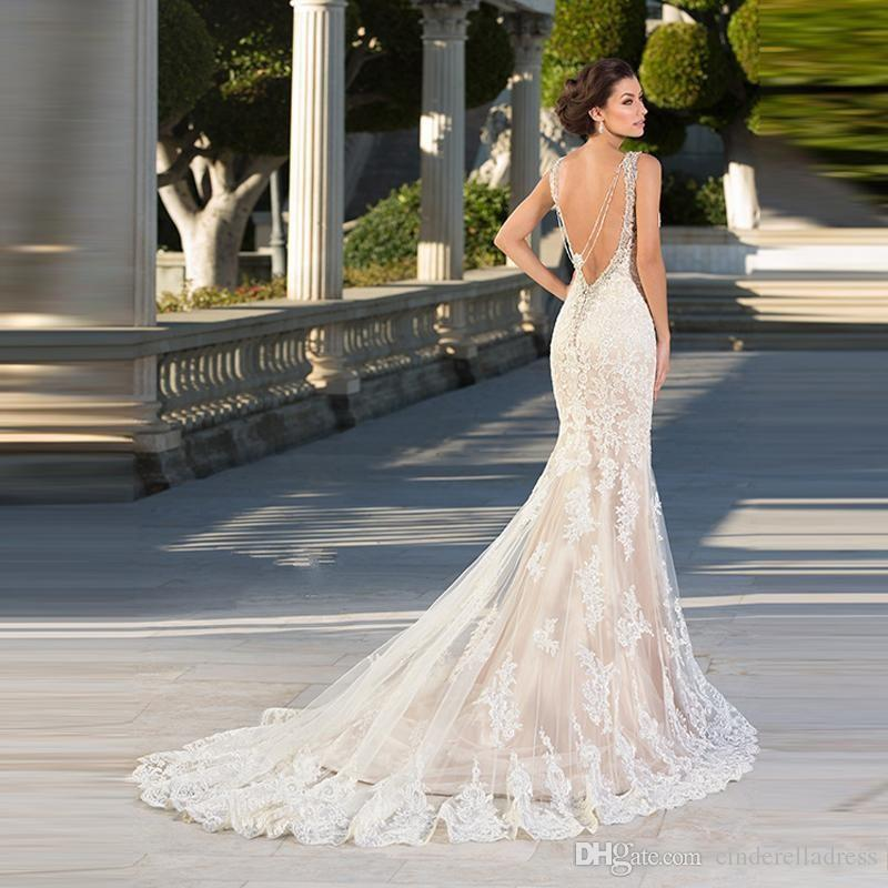 Zuhair Murad Mermaid Wedding Dresses 2018 Lace Appliques Sweetheart Bridal Gowns Crystals Backless Sexy Beaded Gothic For Brides