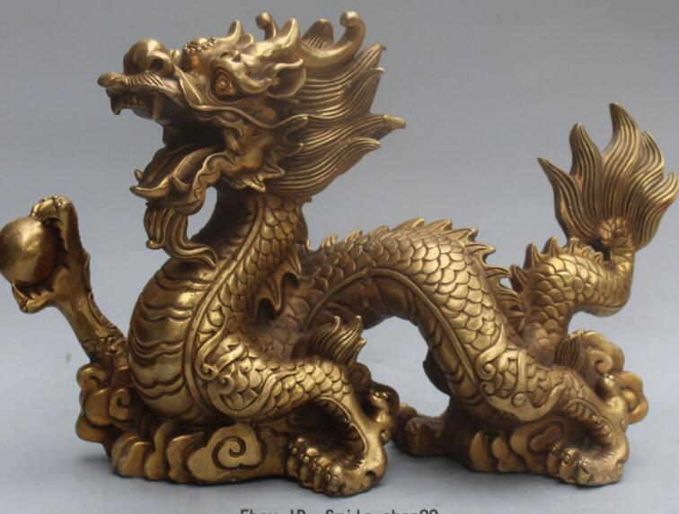 Chinese Folk Classical Hand Carved Pure Copper Brass Bronze Dragon Small Statue
