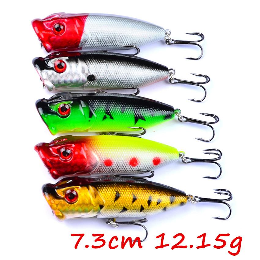 5pcs 13g 6.5cm Fishing Topwater Floating Popper Poper Lure Hooks Bait Crankbait