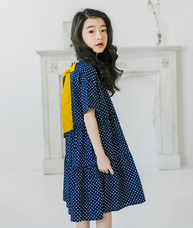 Knee Length Little Girl Dresses Kids Casual Dot Teenage Summer Girl Dress Cotton A Line Blue Mother And Daughter Clothes 4 16 17 18 5 6 7 8 9 10 11 12 13 14 15 years little big formal dresses girls cute girl dresses (2).jpg