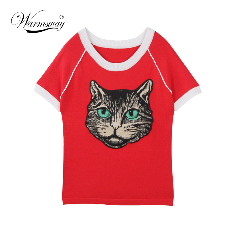 Ladies Tees New Fashion T-shirt Big Eyes Girl Cat Applique Runway Designer Tops Women Slim knitwear Femme B-069