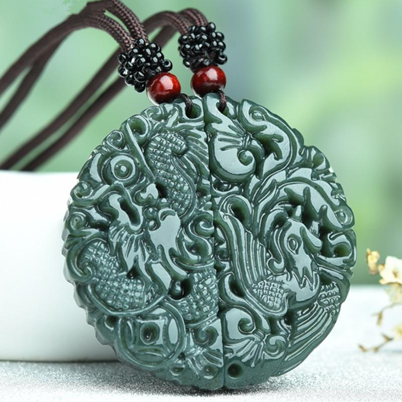 naturale nero verde giada ciondolo drago e Phoenix incisa a mano Amuleto cinese