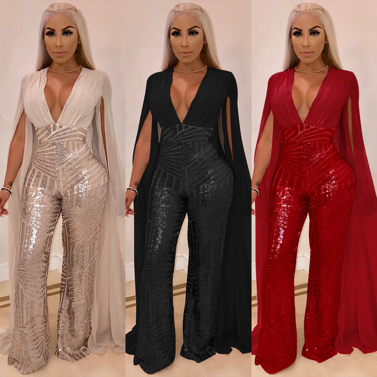Women Chiffon Split Long Sleeve Sequin Jumpsuit 2019 Sexy V Neck Patchwork Loose Wide Leg Sleeved Romper Evening Sparkly Jumpsuit Overalls