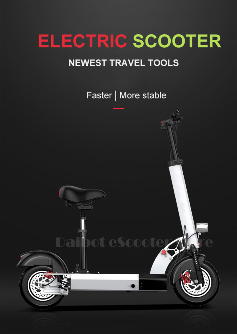 Daibot Folding Electric Bike 48V Two Wheel Electric Scooters 10 inch Motor 500W Portable With Seat Electric Scooters Adults (23)