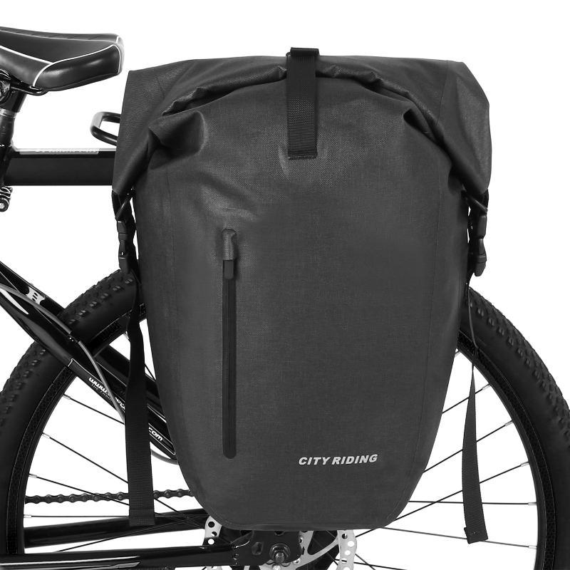 RockBros Cycling Waterproof Pannier Carrier Bag MTB Bicycle Rear Seat Black 2pcs