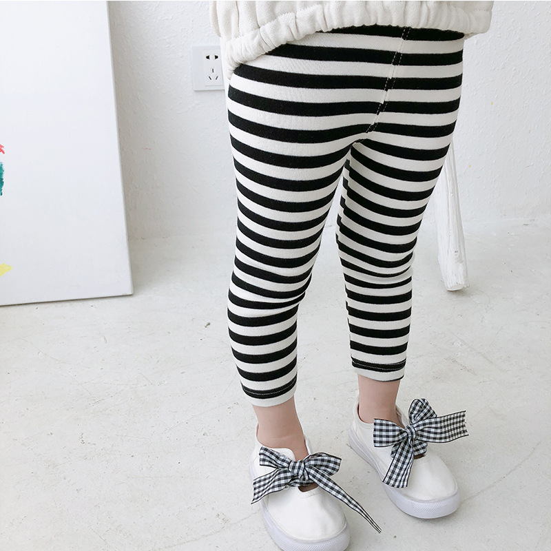 2018 Autumn New Lovely Kids Baby Girls Clothes Legging Pure Color Striped Infant Girl Child Long Skinny Pants Casual Trousers