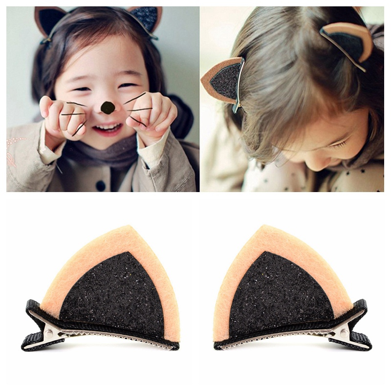 2*Lovely Hairpins Kids Hair Accessories Cute Hair Clips Cat Ears Funny Barrettes