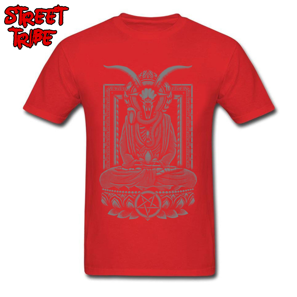 Tops & Tees Baphomet Nirvana Charcoal Tops Shirt Summer/Fall Cheap Funny Short Sleeve 100% Cotton O-Neck Men\`s T Shirts Funny Baphomet Nirvana Charcoal red