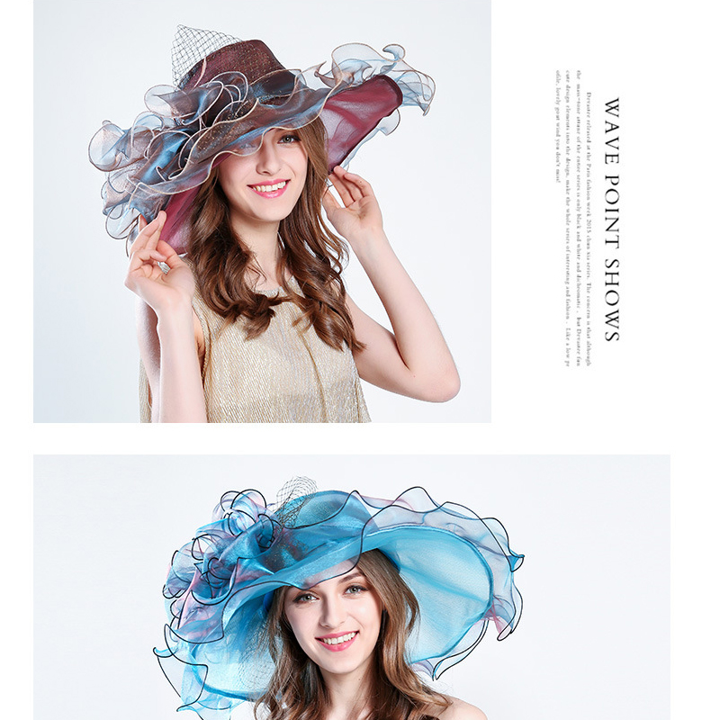Kentucky Derby Hats For Women Vintage Organza Summer Hat Wide Brim Elegant Flower Beach Sun Hat