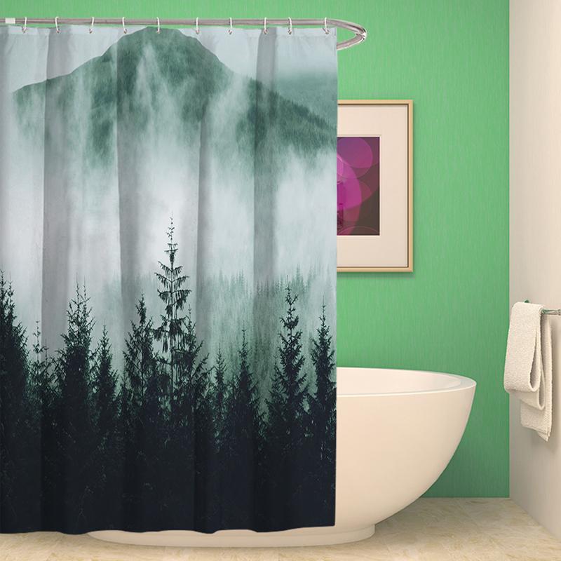 Sunny Seaside Jardin SCENIC Rideau de douche Set de salle de bains Tissu Imperméable /& Crochet