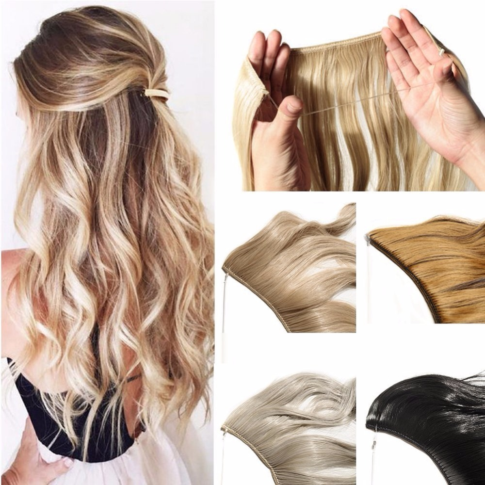 24 Inch Invisible Wire No Clips In Hair Extensions Secret Fish Line Hairpieces Straight Real Natural Synthetic