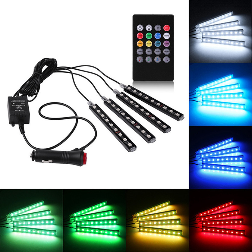 Striscia LED auto presa accendisigari 9LED / PCS Neon interni auto multicolore con telecomando wireless