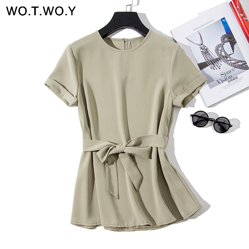 Plain Green Sashes T shirts Women 2019 Spring Summer Casual O-Neck Belt T-shirt Female Yellow Solid Woven Tops Harajuku