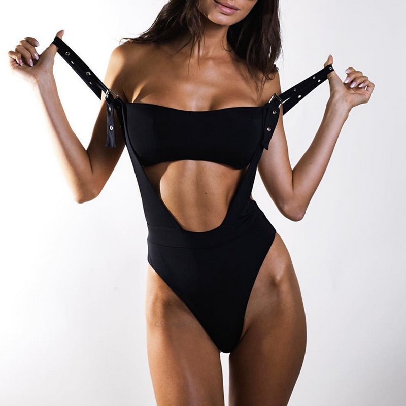Bandeau One-piece Suits Black Set Solid Women Bikini High Cut Swimsuit Sexy Push Up Swimwear Bathers Bathing Suit Monokini 2019 Y19052002