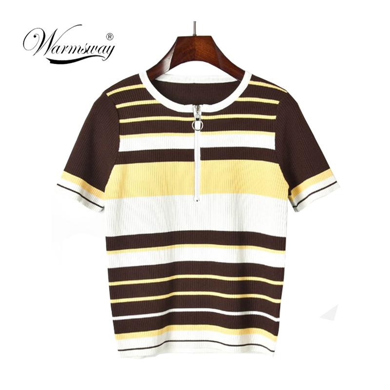 O-Ring Zip Half Placket Rib Knit Crop Tee Striped Short Sleeve High Neck T-shirt Women Summer Slim Fit Tops B-031