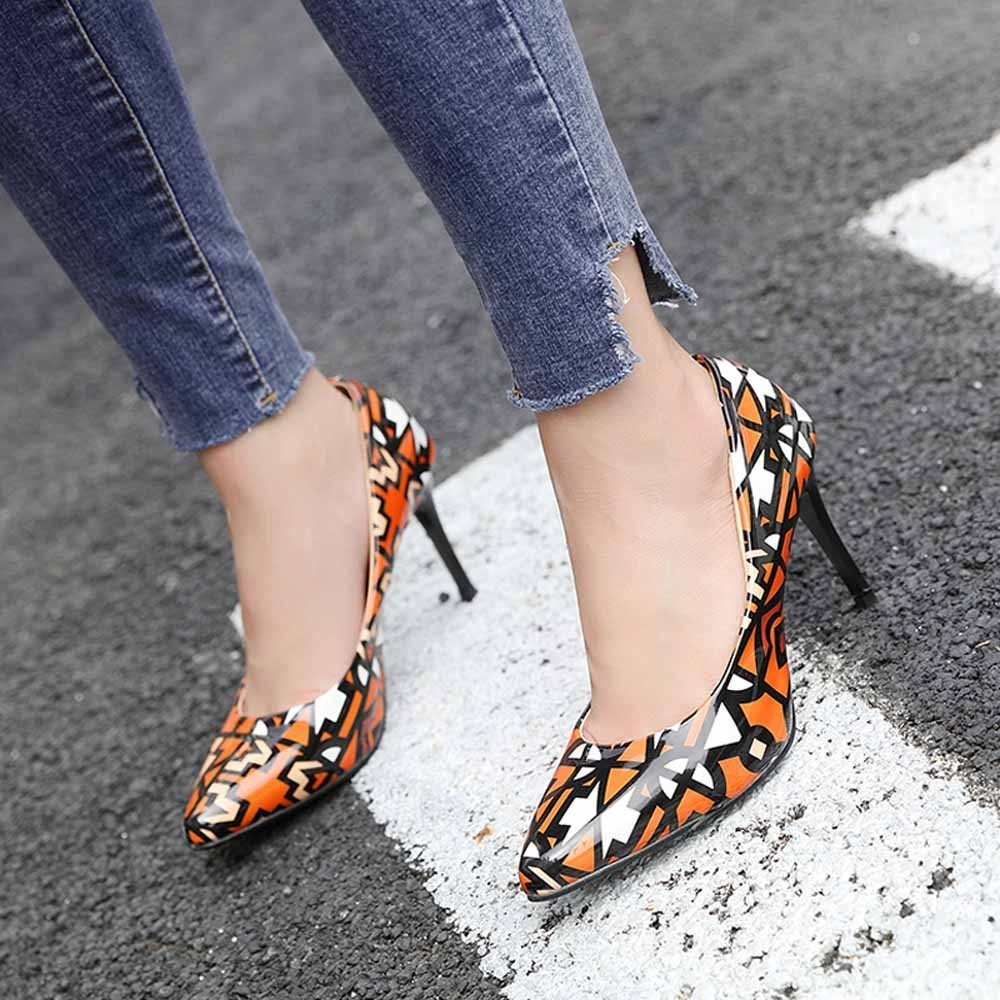 Dress Shoes Fashion High-heeled Women Shoe Patent Leather Pointed Shallow Shoe Wedding Hot Sale
