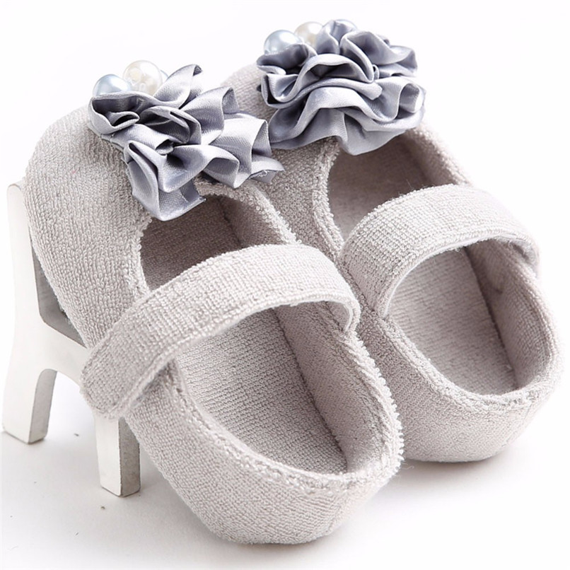 Baby Girls Shoes Fashion Newborn Infant Baby Girls Flower Pearl Soft Sole Anti-slip Princess Shoes Baby First Walker JE25#F (24)
