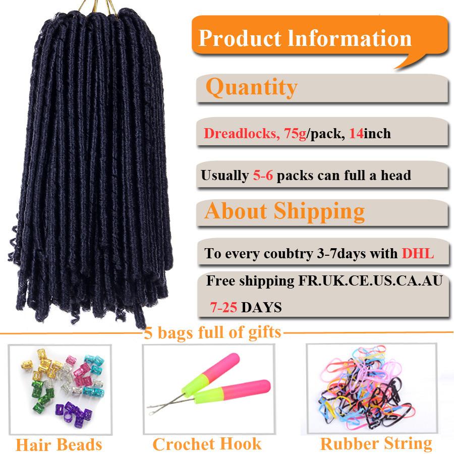14inch Soft Dreadlocks Crochet Braid Hair Extensions 30stands 70g Synthetic Kanekalon Dread Locks Black Crochet Braids