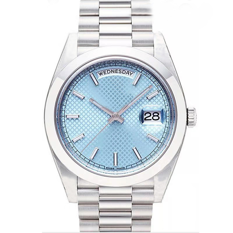Classic mens watches gold day ice Blue Face Mechanical Stainless Steel Strap Automatic Movement Sports Sapphire glass Mens Date Wristwatches