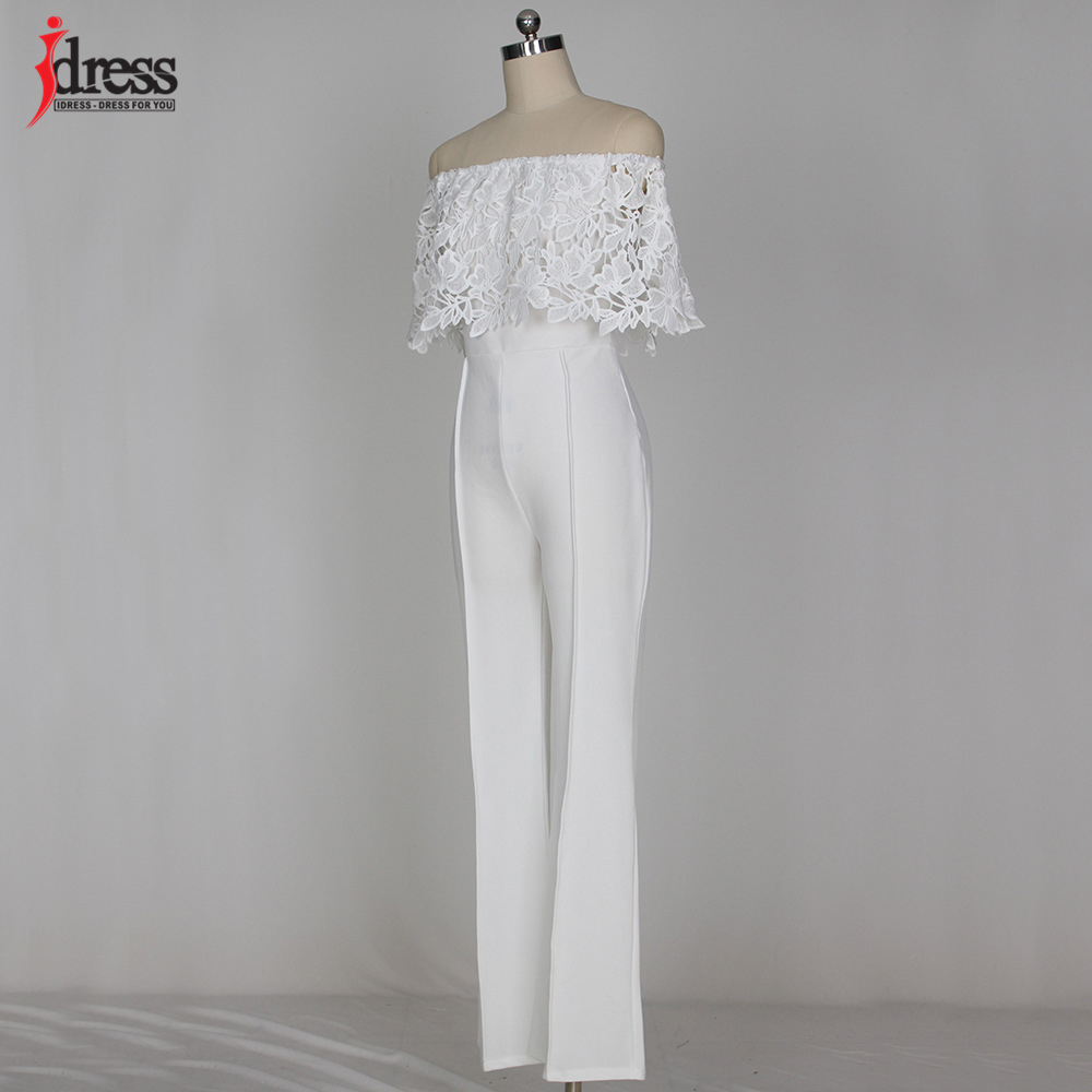 IDress Lace Crochet Rompers Women Jumpsuit Sexy Strapless Bodycon Jumpsuit Wide Leg Black White Yellow Long Pant Romper Overalls (30)