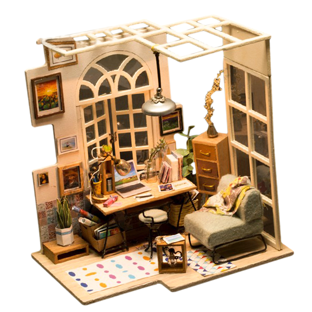 1:24 Dollhouse Kit Miniature DIY Bookstore Reading House Kits Best Birthday Gifts for Teens Education Toys
