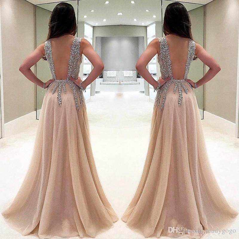 Luxury Beaded Side Split Prom Dresses Deep V Neck See Through Back Party Saudi Arabic Long Evening Dress Crystal Plus Size 2018