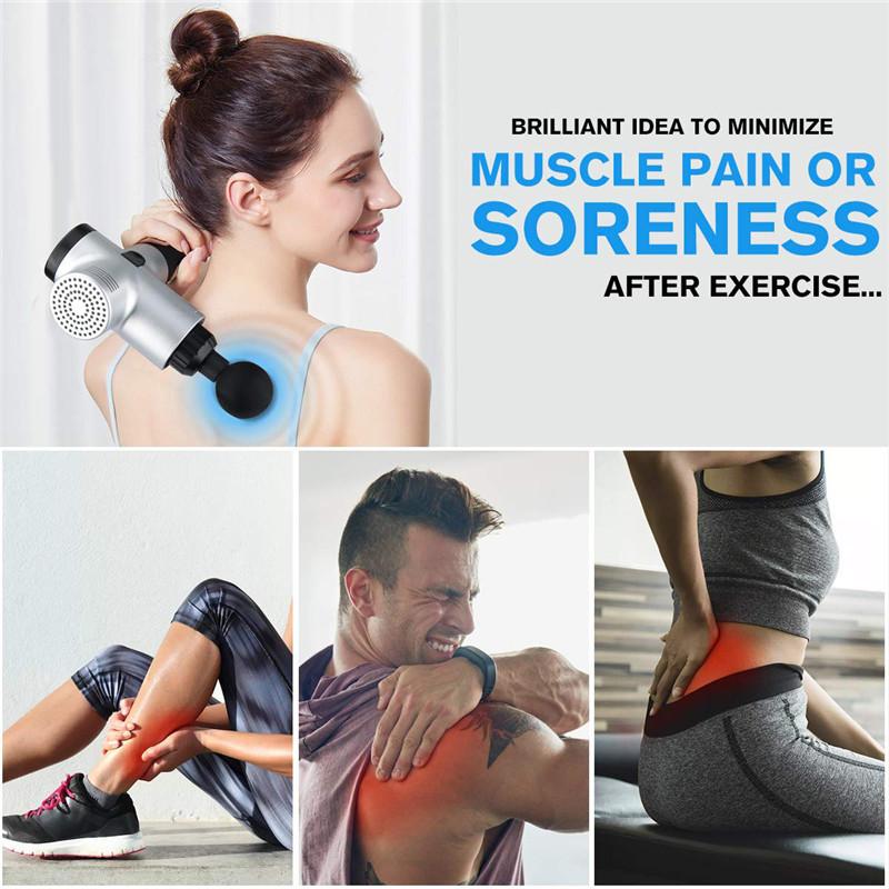 Fascial Gun Muscle Massaging Relax Recovery Soreness Pain Fascia Gun Relief Slimming Shaping Massager 4 Heads Gym Aiding (9)