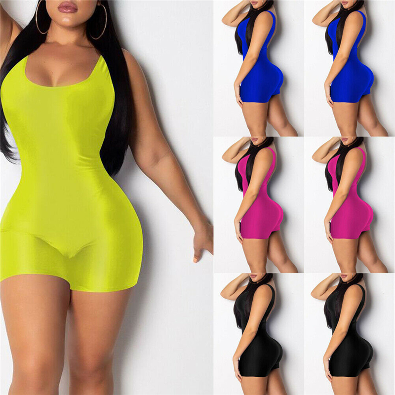 SportsX Women Flare Scoop Neck Sleeveless Tight Fit Jumpsuit Outfits