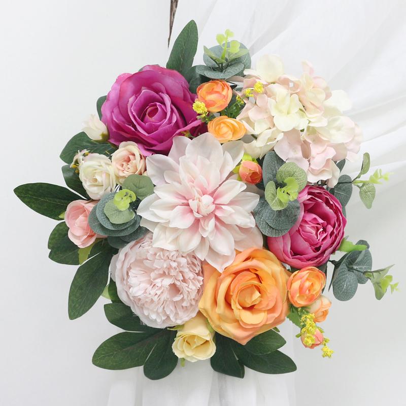 JAROWN Artificial Rose Flower Row Small Corner Flowers Simulation Silk Fake Flowers Wedding DIY Decor Home Garland Decor Flores (2)