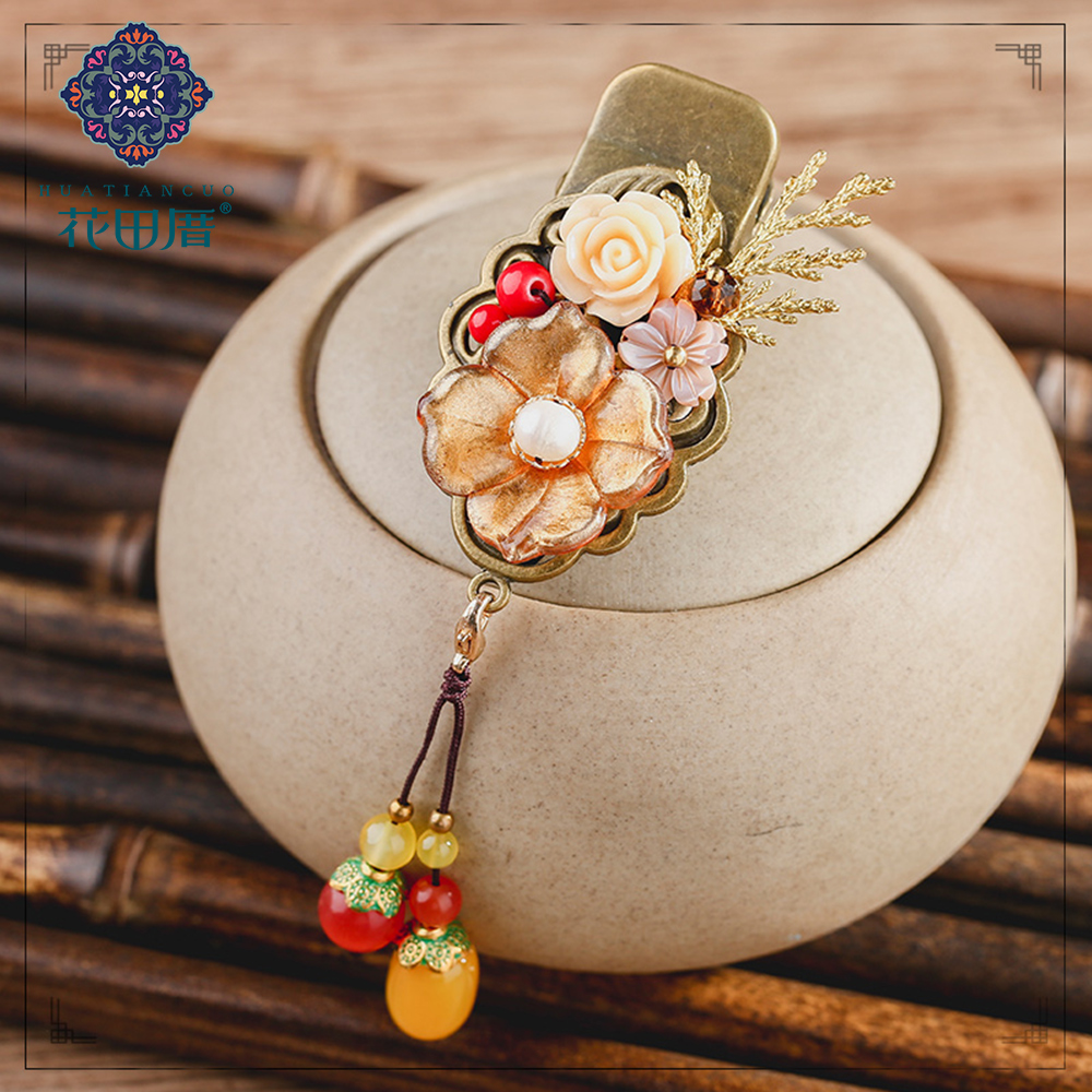 Ethnic Resin Lampwork Flower wheat Hair Pin Jewelry Tassel Dangle Shell Flower Golden Vine Leaf Hair Pin for Women FJ-18100