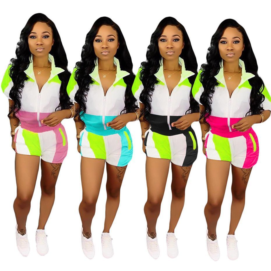 HAOYUAN Plus Size Two Piece Set Summer Clothes for Women Matching Sets Neon Top and Biker Shorts Sweat Suit Casual Tracksuit T5190610