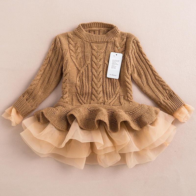 Children Clothing Winter Girls Knitted Sweater Pullovers Kids Girl Princess Outfits Knitted Sweater Tutu Dress for 1-3 Years Old
