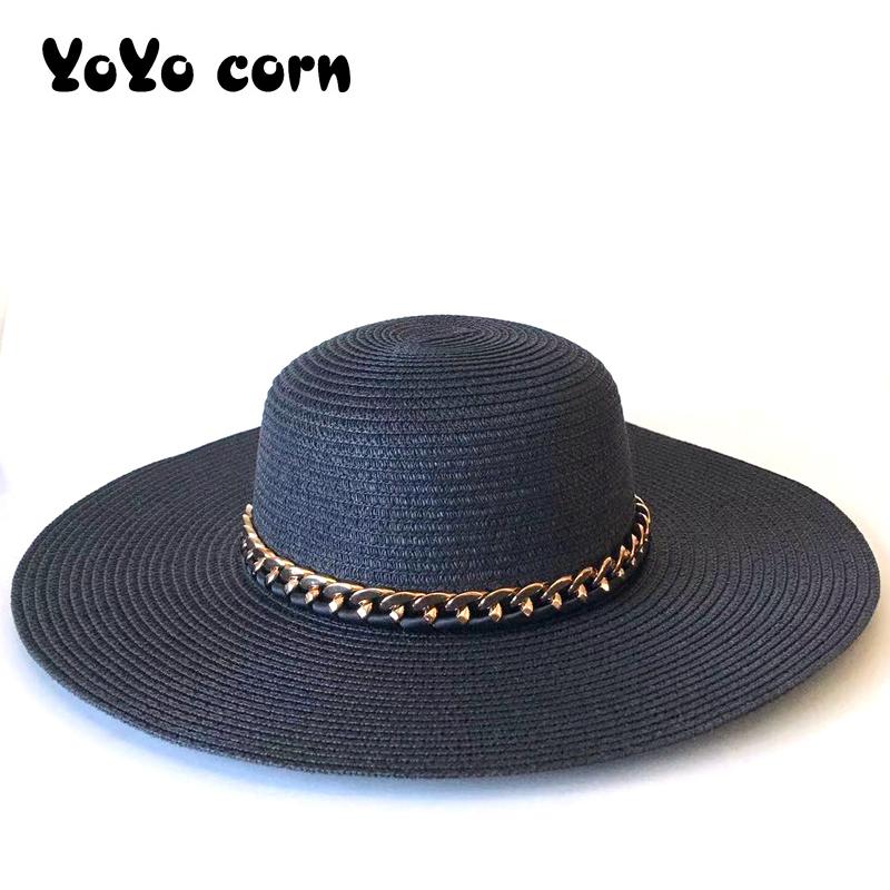 Nouveau Femmes Rétro été plage Casual Panama Chapeau Soleil Plat Brim nœud Straw Cap
