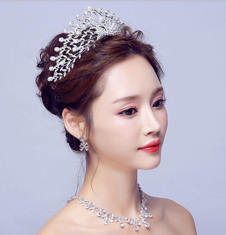 Gorgeous Wedding Tiara Simulated Pearls Jewelry Diadem Shiny Bridal Crown Big Queen Tiaras Rhinestone Crystal Hair jewelr (1)