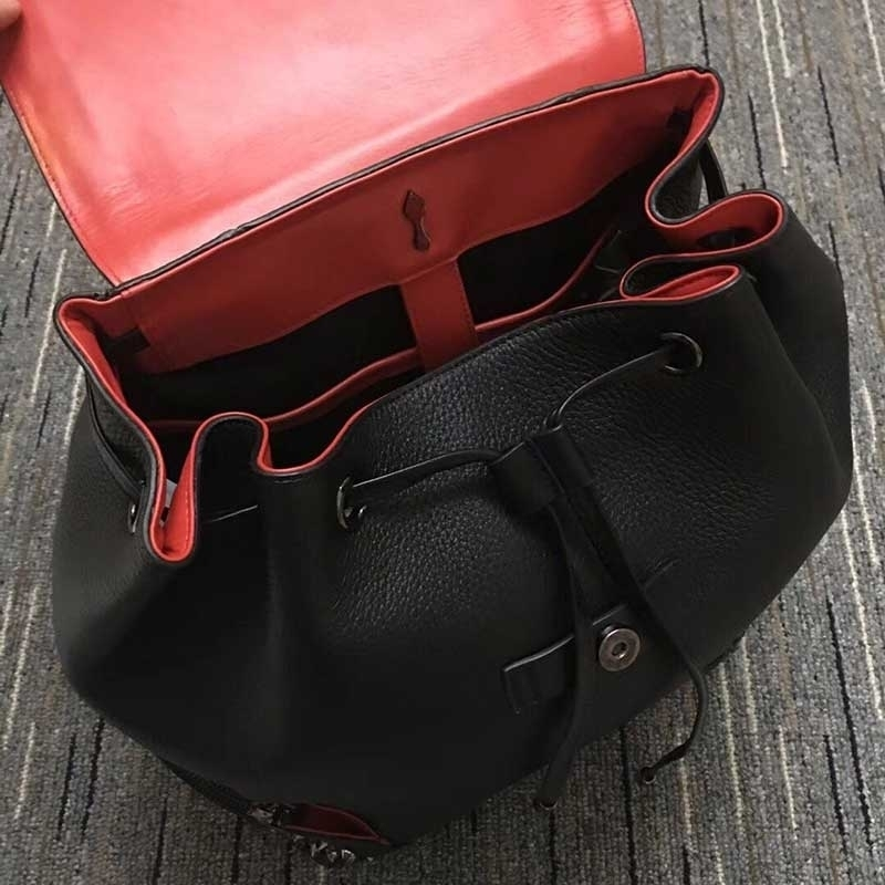 Rivet Backpacks Red Bottom With Original Famous Brand Top Quality Genuine Leather Backpack Famous Brand Bags