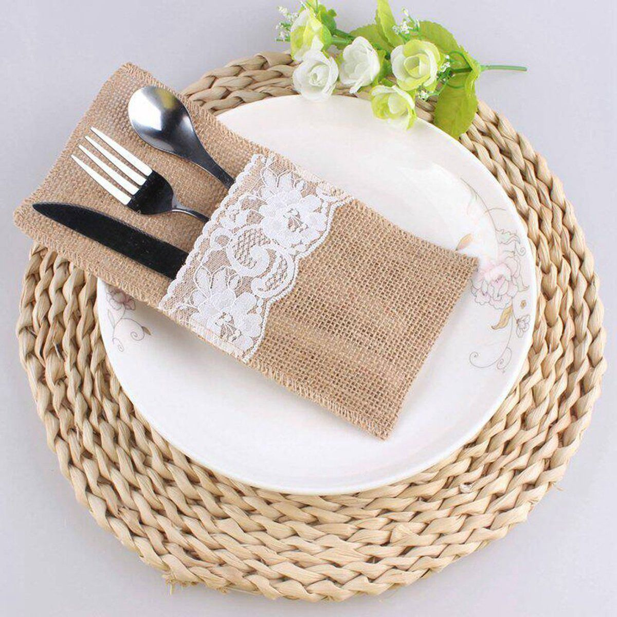 Natural Jute Knives And Forks Cutlery Set Silverware Bag Holder Burlap & Lace Party Wedding Decor, 21x11cm C19021401