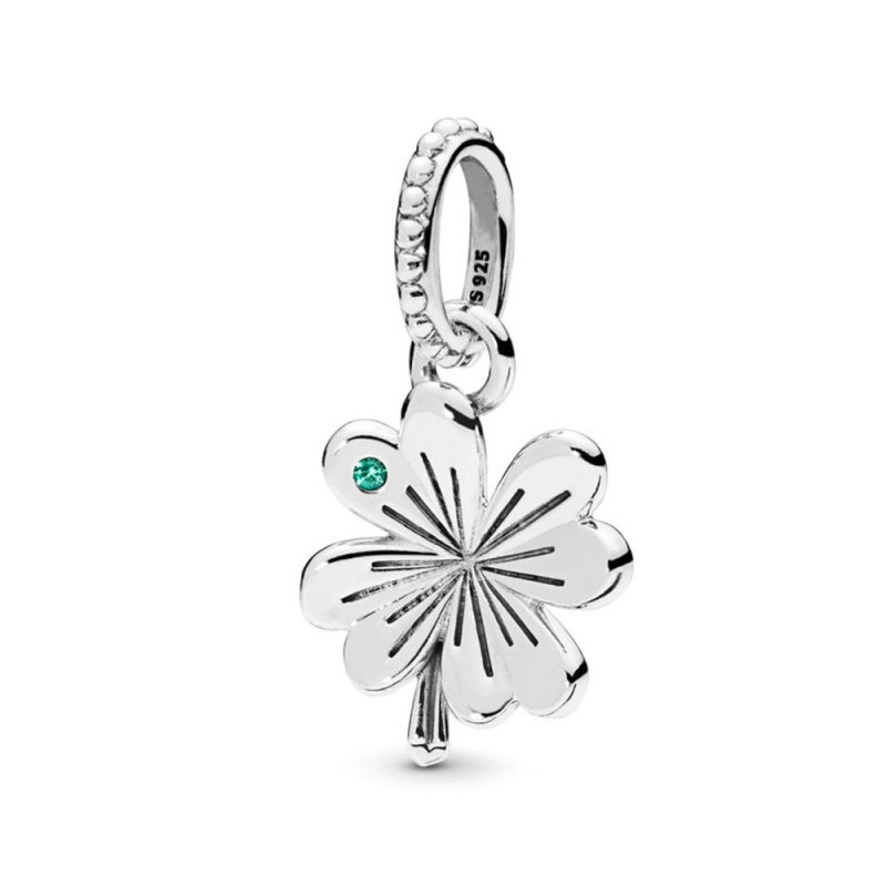 Retro 925 Sterling  Silver Lucky Link of Clover Chain Flower Open Band Ring M