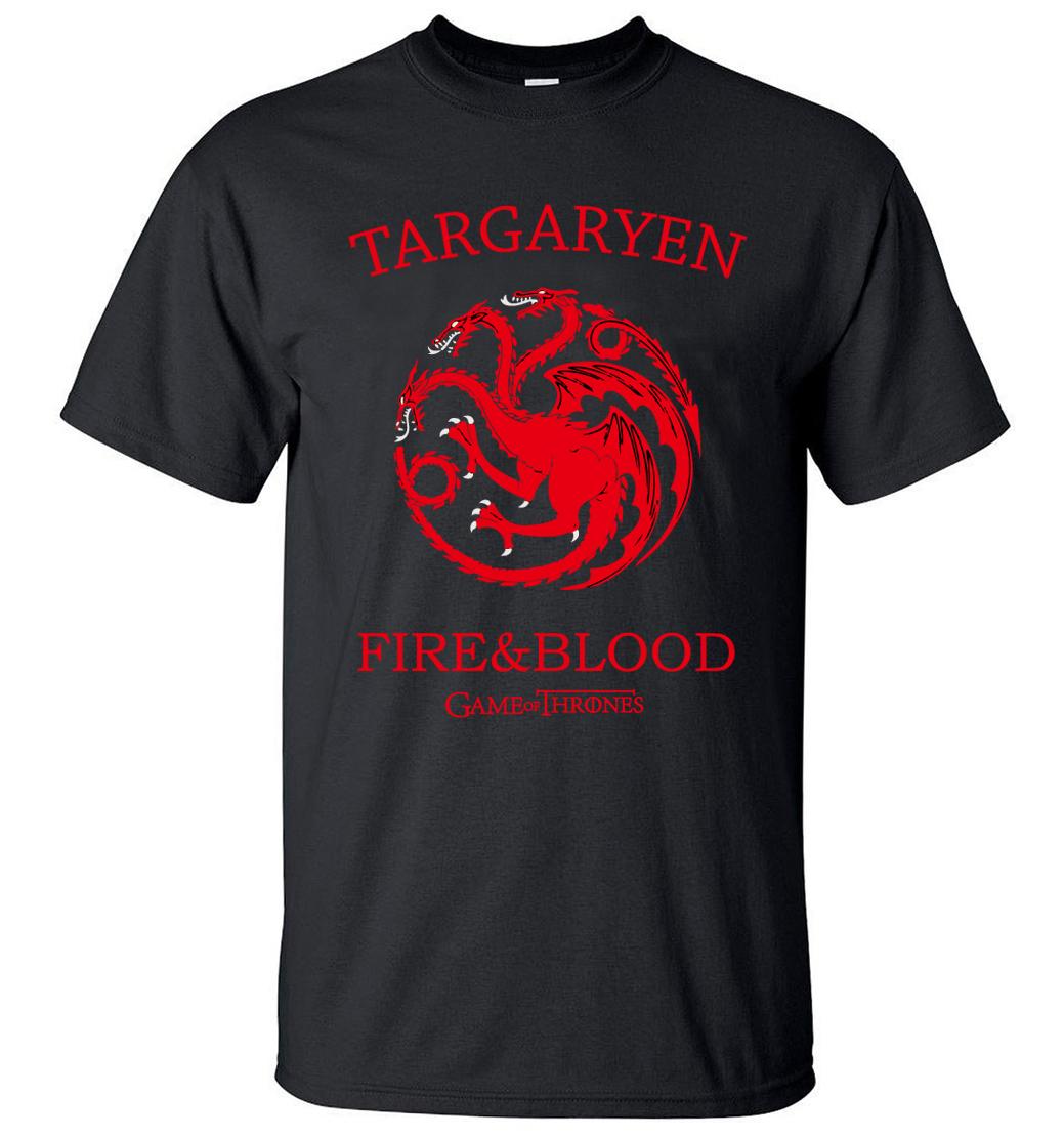 Targaryen Fire Blood Game of ThronesMen TShirts 2019Summer T-Shirt 100% Cotton High Quality Top TeesS-3XL Camisetas Hombre