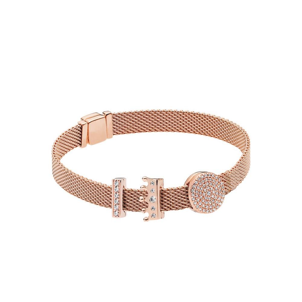 Brillante inspiradoras Clip Encanto plateado en color oro rosa 925 pulseras