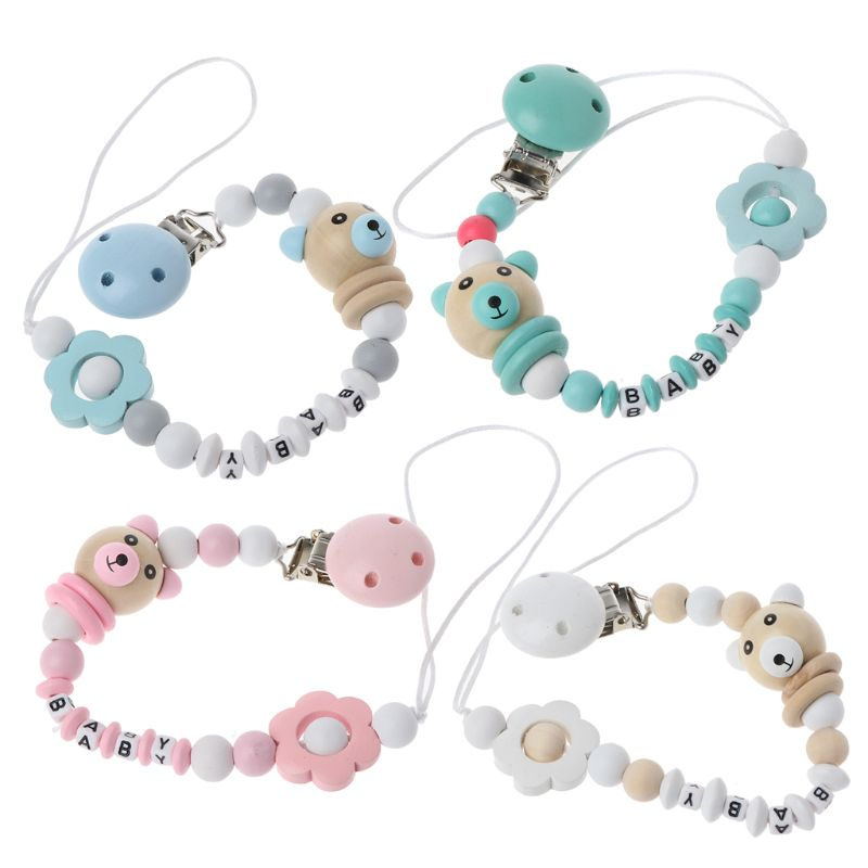 Autone Baby Panda Shape Pacifier Clip Chain Hand Made Cute Colourful Beads Dummy Clip Baby Soother Holder For Baby Kid
