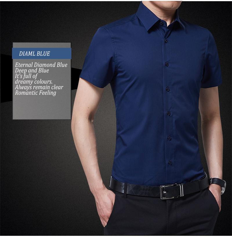BROWON Brand New Formal Shirt Men Short Sleeve Shirt Turn Down Color Slim Fit Casual Shirt Plus Size M-5XL Camisa Masculina12