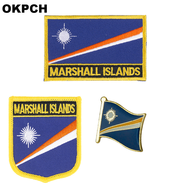 Marshall bayrak yama rozeti 3 adet bir Set Giyim DIY Dekorasyon için PT0118-3 Yamalar