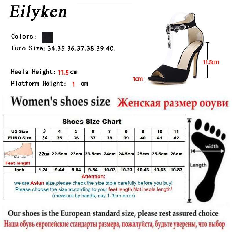 2019 New Summer Gladiador Sandalias Black Crystal Chain Sexy Cover Heel Peep Toe Sandals For Women size 35-42