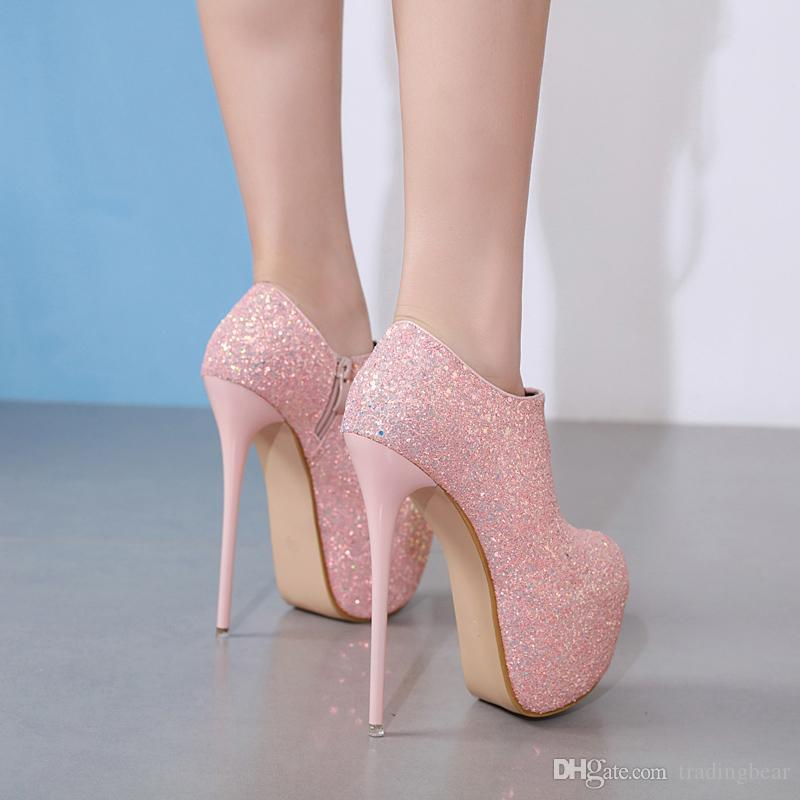 Charm2019 16cm Luxury Black Pink Prom Gown Dress Shoes Glitter Sequins Ultra High Heels Platform Ankle Bootie Shoes To