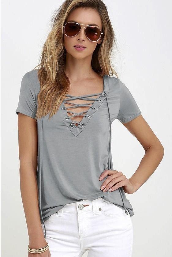 Mujeres Seksi BODYCON Camiseta De Verano V Profundo En Manga Corta Camiseta Casual Suelta Más Tamaño S 5XL Tops Giyimlere