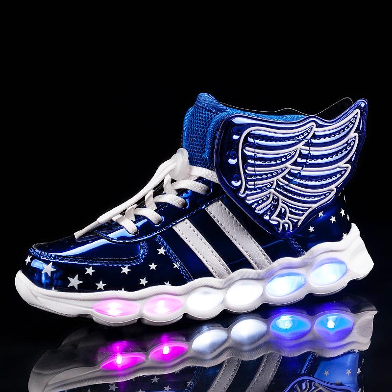 Kids Girls Trainers Flashing LED Luminous Lights Lace Up Wing Shoes Size New UK