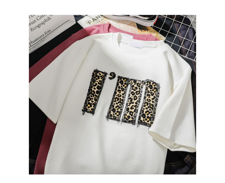 T shirt Lettera T Moda bianca del leopardo delle donne della stampa manica corta O collo Harajuku casuale la signora Girl Tops
