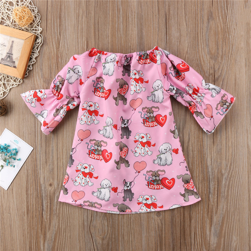 Cat Owl Puppy Dinosaur Flowers Baby Girls Dress Casual Autumn Party Kids Clothes