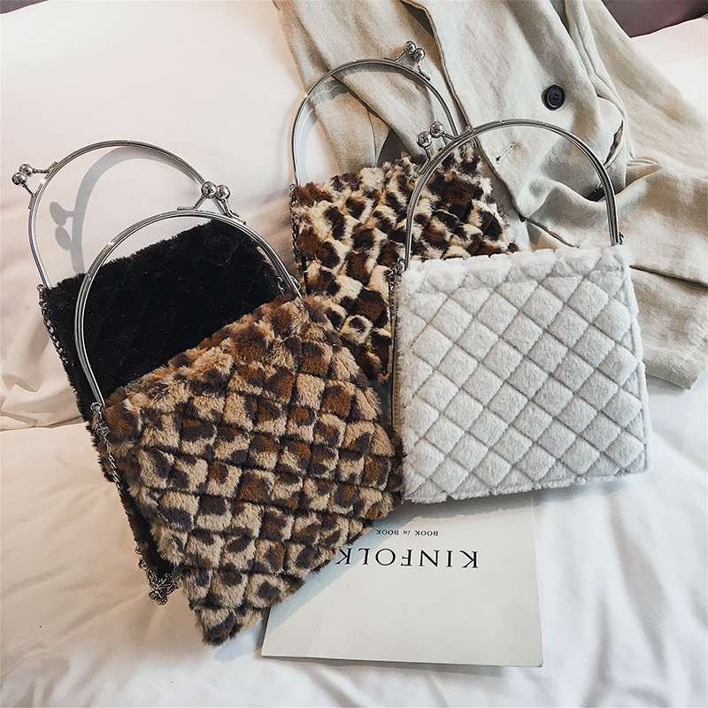 Leopard Print Fashion New Handbag High Quality Straw Women Round Tote Hand Metal Ring Chain Shoulder Bag